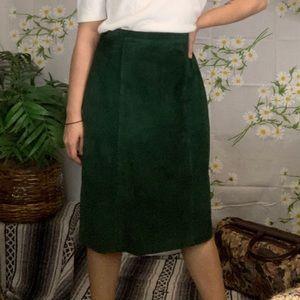 Vintage emerald green leather skirt